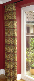 Resumo made to measure curtains in red and gold tapestry fabric