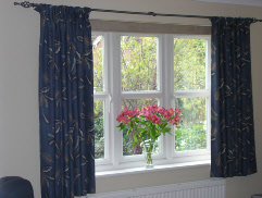 Resumo made to measure curtains in blue and taupe fabric